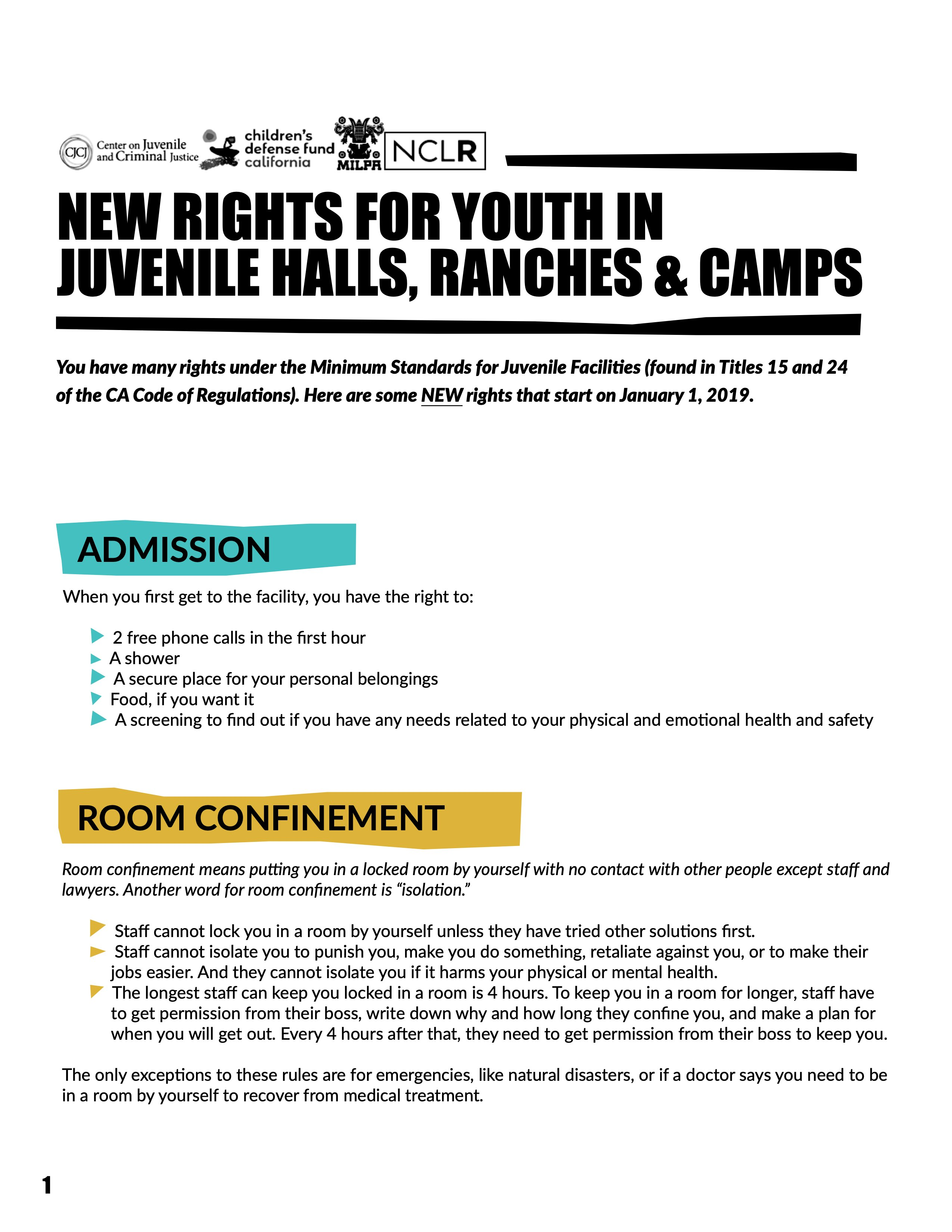 New Rights for Youth in Juvenile Halls, Camps & Ranches